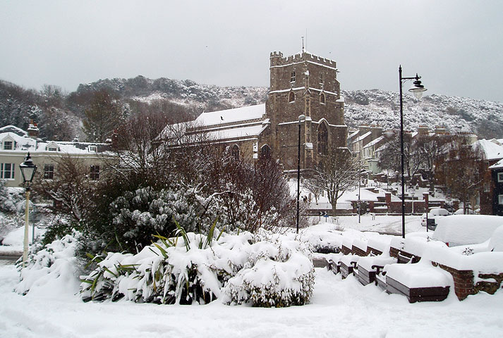 All Saints Church in the Snow