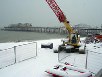 Pier Clear Up in the Snow