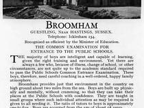 Broomham School Advert